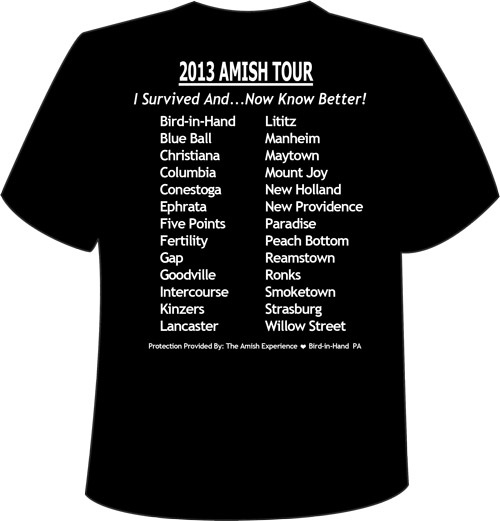 Amish experience amish tours magic lantern shows for T shirts with city names