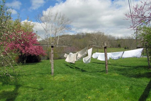 Sheets drying outside