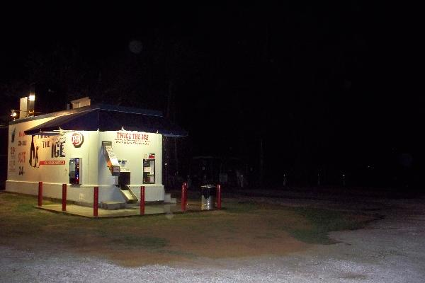 Ice House and RV Park at Night
