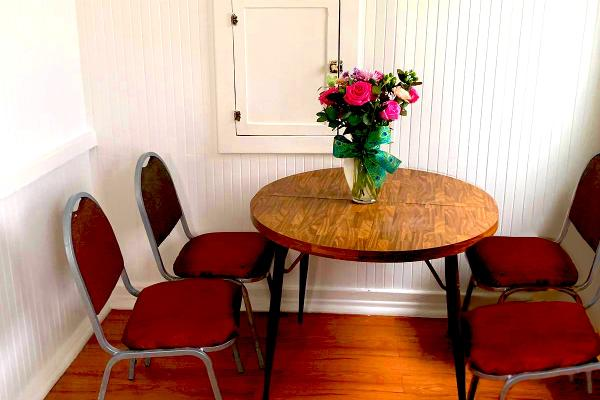 Spacious dining table for four.
