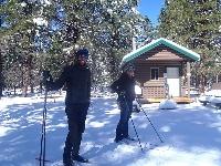 Skiers at Camper Cabin