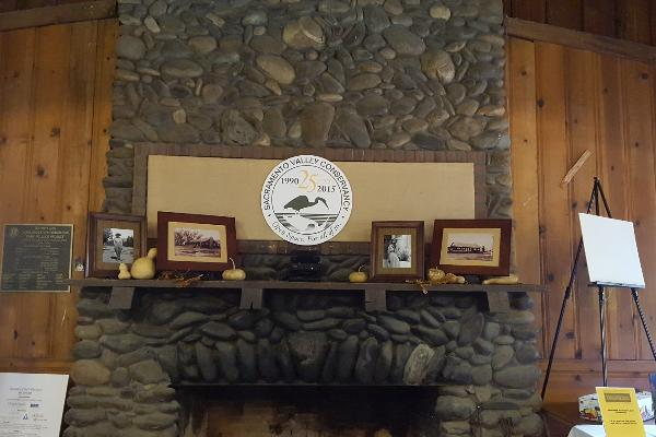 The original stone fireplace is a beautiful centerpiece in the lodge.