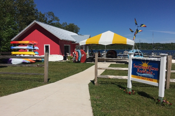 Check out our beautiful location on Lake Charlevoix in the Ironton Narrows!